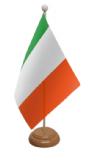 Ireland Desk / Table Flag with wooden stand and base
